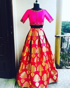 On Huge DEmand we have this for you !!Hot pink crop top and skirt for evening party!!grab them soon!!Go Traditional for this season!!! mugdha  hyderabad  designer  wedding sashi  19 October 2016