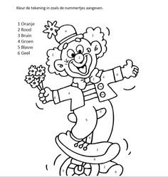 www.juf-lisanne.nl Werkblad cijferkaart kleuren bij het thema circus. Circus Clown, Circus Party, Clowns, Coloring Pages For Kids, Adult Coloring, Circus Theme Classroom, Texture Painting On Canvas, Bird Masks, Cross Stitch For Kids