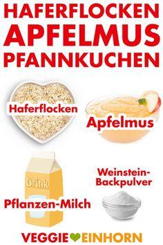 Gesunde vegane Pancakes mit Haferflocken und Apfelmus | ohne Banane, ohne Mehl, ohne Zucker, ohne Ei, ohne Milch, ohne Weizen | Veganes Pfannkuchen Rezept deutsch | 4 Zutaten | vegan glutenfrei zuckerfrei | Leckeres gesundes veganes Frühstück | Einfaches Rezept mit VIDEO #VeggieEinhorn