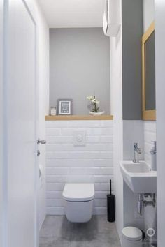 Space Saving Toilet Design for Small Bathroom - Home to Z toilettes Small Downstairs Toilet, Small Toilet Room, Downstairs Cloakroom, Guest Toilet, Cloakroom Toilet Small, Small Toilet Decor, Bathroom Wall Decor, Bathroom Styling, Bathroom Interior