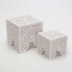 OPENWORK NEST OF TABLES (SET OF 2) - Zara Home sidobord, 40x40cm & 29x29cm, 129€ White Furniture, Furniture Decor, Bedroom Furniture, Zara Home Canada, Moorish, Home Staging, The Hamptons, Decoration, Upholstery