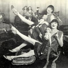 The Dolly SIsters with their boudoir dolls