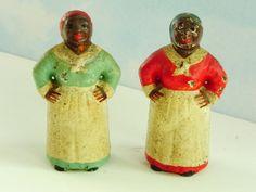 Antique Cast Iron Mammys. Pair of Small Black Americana, Aunt Jemima Toy Figurines.