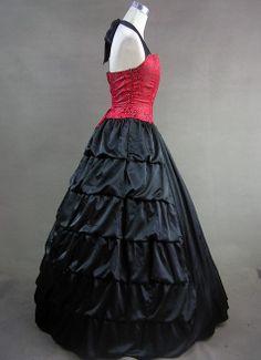 Elegant Red and Black Halter Gothic Victorian Dress 7499ec1b5485