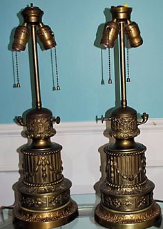 Pair 19th Century Gagneau France Patinated Bronze Repousse Oil Lamps Converted #French #Gagneau
