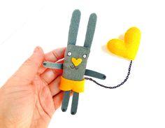 Animal brooch bunny brooch bunny pin heart brooch yellow by krize