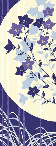 Japanese Tenugui Towel Cotton Fabric, Chinese Bellflower, Moon, Autumn Floral Design, Hand Dyed Fabric, Art Wall Fabric, Home Decor, h114