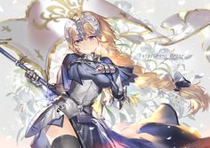 Anime picture 				1066x756 with  		fate (series) 		fate/apocrypha 		jeanne d'arc (fate/apocrypha) 		holy pumpkin 		long hair 		single 		blue eyes 		blonde hair 		smile 		ponytail 		holding 		braid (braids) 		copyright name 		hand on chest 		girl 		dress 		ribbon (ribbons) 		hair ribbon 		flag