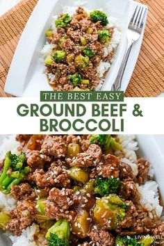 This is the best easy ground beef and broccoli recipe - perfect for a busy weeknight meal cheaper and healthier than take-out this dinner is gluten-free dairy-free and delicious broccoli groundbeef easyrecipe Healthy Ground Beef, Ground Beef Recipes For Dinner, Dinner With Ground Beef, Ground Beef Recipes Easy, Dinner Recipes, Ground Beef Rice, Ground Beef Recipes Potatoes, Recipies With Ground Beef, Meals To Make With Ground Beef
