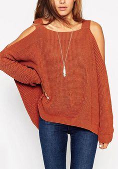 This dark orange cold shoulder sweater is styled with a boat neckline, long sleeves and side slits to give you that relaxed vibe. | Lookbook Store Sweaters and Knits
