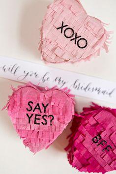 will you be my bridesmaid piniata - brides of adelaide Bridesmaid Gifts Unique, Bridesmaid Boxes, Bridesmaid Proposal, Wedding Bridesmaids, My Funny Valentine, Valentines, Diy Wedding Inspiration, Will You Be My Bridesmaid, Valentine's Day Diy