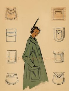 1949 French Fashion Pochoir Print, Green and Tan Pocket Couture