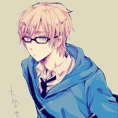 Anime boy, blond hair, blue eyes, glasses, blue jumper