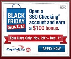 Could you use an extra $200? Here's how to get $200 when you open up a checking and savings account with Capital One. This offer is ONLY valid this weekend -- hurry!
