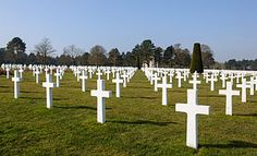 The Normandy American Cemetery & Memorial, Colleville-sur-Mer, Normandy, France, that honors American soldiers who died in Europe during WWII. Located on a bluff overlooking Omaha Beach & the English Channel. Included among the burials is Theodore Roosevelt Jr., son of President Theodore Roosevelt. After the creation of the cemetery, another son of Roosevelt's, Quentin, killed in WWI was exhumed and reinterred next to his brother, Theodore Jr. It contains 9387 burials, 307 are unidentified.