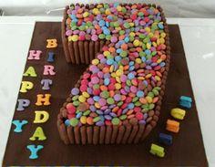 Smartie number cake