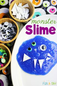 Fun glitter monster slime activity for kids! They'll love making slime and exploring ways to play with it during a monster theme. #Slime #Preschool #Sensory #SensoryPlay #PreK #Science