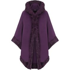 Vicki Fur Hooded Cape (3.005 RUB) ❤ liked on Polyvore featuring outerwear, coats, jackets, cape, purple, shawl cape, cape shawl, purple shawl, long purple cape and faux fur trim cape