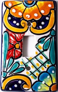 MEXICAN TALAVERA POTTERY SINGLE TOGGLE SWITCH PLATE TTSP008