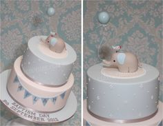 Baby Elephant Cake for boy's Christening, made by Cake Avenue, to match Style Me Gorgeous printables