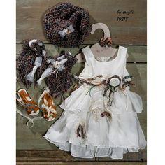 Φορεματάκι βάπτισης με τσαλακωτή μουσελίνα, σε μπόχο στυλ. Κωδικός Προϊόντος: ΕΡ.10 (19218) Girls Dresses, Flower Girl Dresses, Chic Dress, Christening, Boho Chic, Wedding Dresses, Beautiful, Collection, Fashion