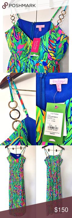 LILLY PULITZER Joanna Maxi Dress in Multi  Brand new with tags. Measures approximately top to bottom 48 inches (from the closing of the cleavage area to bottom) Padded bra, adjustable shoulder length. Around under breast area approximately 32 inches. Back zipper closure. Material not listed. For cup size C plus. Lilly Pulitzer Dresses Maxi