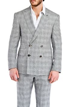 2-Piece Glenn Plaid Silk Suit in Navy and Cream
