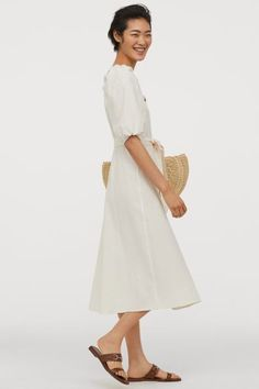 Calf-length dress in woven, crêped cotton fabric. Square neckline, buttons full length of front, and short puff sleeves with elastic over shoulders and at c Cute Summer Outfits For Teens, Summer Dress Outfits, Casual Summer Outfits, Cream Midi Dress, White Dress, Fashion Art, Calf Length Dress, Tuxedo Dress, Crepe Dress