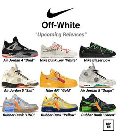 "Gefällt 8,544 Mal, 101 Kommentare - COP 'EM (@cop.em) auf Instagram: ""Various of Off-White sneakers are expected to release in the future! Which one do you like the most?"" Jordan 5, Shoe Releases, Blazer, Nike, White Sneakers, Future, Shoes, Instagram, White Tennis Shoes"