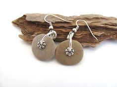 Beach Stone Earrings : BLISS Hand Drilled Mediterranean Natural Rock Jewelry Beach Pebble Earrings River Stone Beige Silver