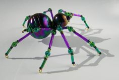 Beaded Spider Iridescent Purple and Green by AuroraRosealis, $18.00