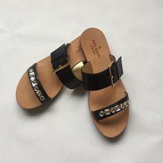 Kate Spade Black Vacchetta Jeweled Sandal