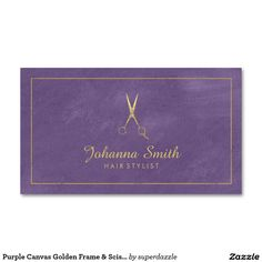Purple Canvas Golden Frame & Scissors Hairstylist Appointment business card template with an image of a grunge golden Scissors (golden effect only not real gold color) with canvas texture. An appointment card on the back of this Hairstylist business card template, which helps you distributed your business cards. You can change text and background colors to make them perfect for your taste. A great design for Hairstylist, beauty salon, hairdresser, barber shop etc.