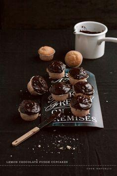 Lemon Chocolate Fudge Cupcakes