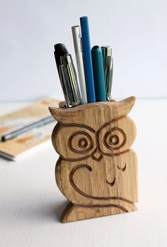 Wood Carved Pen Holder Wooden Owl Pencil by LittleWoodCottage