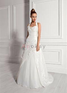 Klassische Neckholder Asymmetrisch Taft Hochzeitskleider EHS91306008