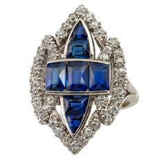 Really unusual and beautiful sapphire and diamond ring, circa 1910