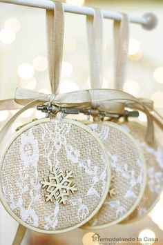 Embroidery Hoop Christmas Ornaments is part of Christmas crafts Rustic - Embroidery Hoop Christmas ornament Easy Handmade Ornaments Ornament Crafts, Handmade Ornaments, Diy Christmas Ornaments, Homemade Christmas, Christmas Projects, Holiday Crafts, Christmas Holidays, Christmas Decorations, Diy Lace Ornaments