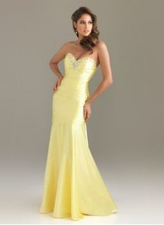 Trumpet/Mermaid Strapless Sweetheart Sweep Train Charmeuse Prom Dress With Ruffle Beading