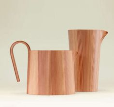 Akita cedar wood pitchers by renowned artisan Yasutaka Shimizu Interior Desing, Japanese Design, Wood Design, Home Decor Items, Household Items, Wood Art, Industrial Design, Home Accessories, Metallica