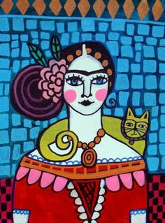 Mexican Wall Art Frida Kahlo Yellow Cat Print by HeatherGallerArt, $24.00