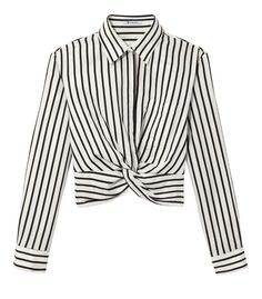 T By Alexander Wang Black & White Stripe Twist Top - Black & White Stripe Twist Top Cotton Blouses, Shirt Blouses, Shirts, Short Lace Dress, Vintage Outfits, Vintage Clothing, Beautiful Blouses, Casual Outfits, Clothes For Women