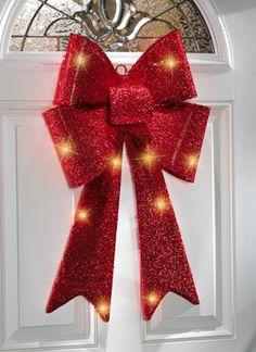 Red Sparkling Christmas Holiday Bow - Electric, 10 light