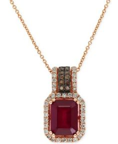 34ad503ccb58 Red Velvet by EFFY Ruby (3-1 4 ct. t.w.) and Diamond (3 8 ct. t.w.) Pendant  Necklace in 14k Rose Gold   Reviews - Necklaces - Jewelry   Watches - Macy s