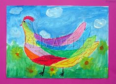 Kids Artists: Colourful chicken- using oil pastels and diluted tempera paint for background