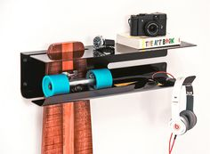 Zanocchi & Starke designed Wall Ride, a wall-mounted rack that takes your skateboard off the floor and lets you proudly display it, while storing your gear.