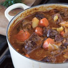 Two things set this old-fashioned beef stew apart from its rivals: browning the beef in bacon fat and adding lots of vegetables to the pot.