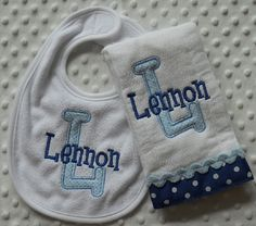 Monogrammed Baby Boy BiB and BuRP CLoTH gift by mylittlehedgehog,