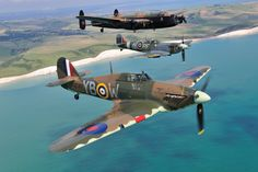 British airplanes, Lancaster Spitfire and Hurricane