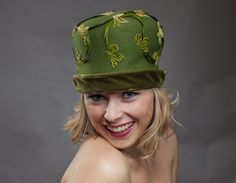 Clover Hat  Vintage green cloche hat with by TheFeatheredHead, $75.00